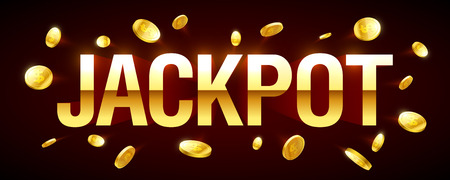 Jackpot gambling games banner with jackpot inscription and gold explosion of coins around Illustration