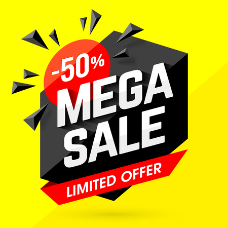 symbols: Mega Sale banner, poster background. Big sale, special limited offer, discounts, 50% off