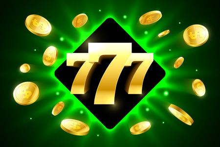 Sevens chanceux lumineux bannière casino avec des pièces de monnaie Banque d'images - 74911905