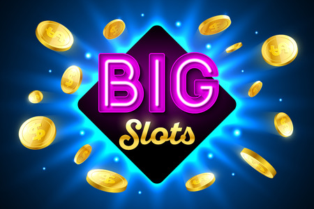 cash money: Big Slots bright casino banner with big slots inscription sign on bright background and explosion of cold coins flying around Illustration