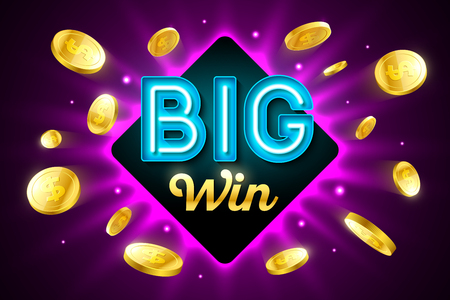 Big Win bright casino banner with big win inscription sign on bright background and explosion of cold coins flying around Illustration