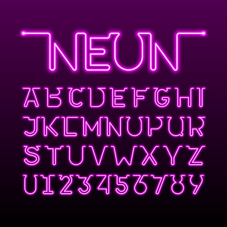 One thin single continuous line neon tube font. Alphabet and numbers