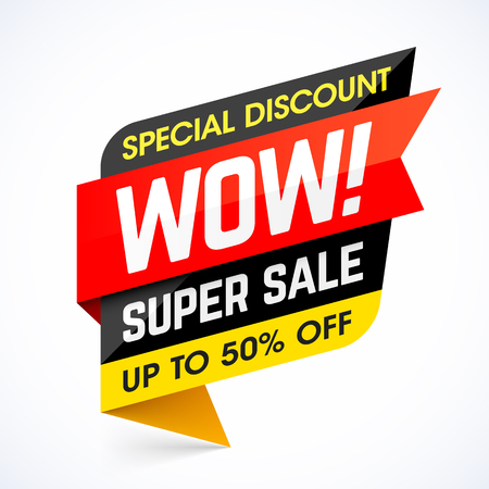 modern: WOW! Super Sale. Special discount banner, up to 50% off
