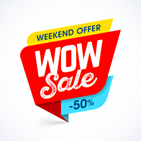 WOW Sale weekend special offer banner, up to 50% off Ilustração