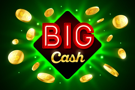 cash: Big Cash bright casino banner with big cash inscription sign on bright green background and explosion of cold coins flying around