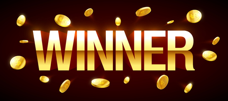 shiny: Winner casino banner with winner inscription and gold explosion of coins around