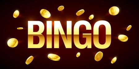 ganancias: Bandera de bingo, con inscripción de bingo y monedas volando alrededor Vectores