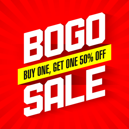 BOGO Sale, Buy One and Get One 50% Off Sale banner