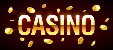 ganancias: Bandera del casino, con la inscripción del casino y las monedas que vuelan alrededor Vectores