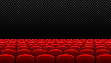 comedy: Rows of red cinema movie theater seats on transparent background