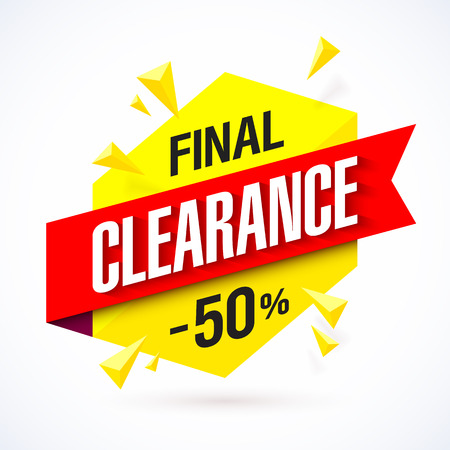 percent: Final Clearance bright banner. Special offer, big sale, up to 50% off