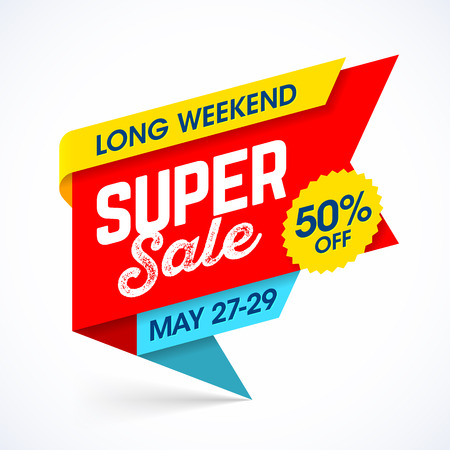 shop sign: Long Weekend Super Sale banner, special offer up to 50% off Illustration