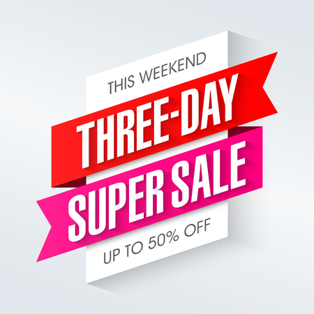 symbol: Three-day Super Sale banner, weekend special offer, up to 50% off Illustration