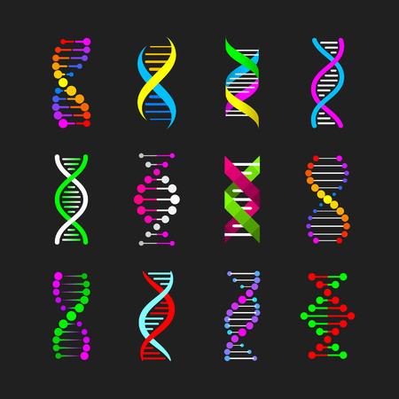 colors: Color DNA icons set Illustration