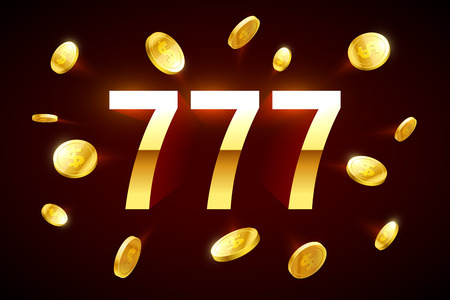 sign: Lucky sevens jackpot. Three lucky sevens with flying coins around