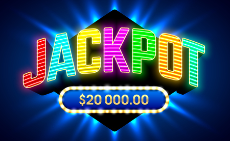 A Jackpot gambling game bright banner with winning