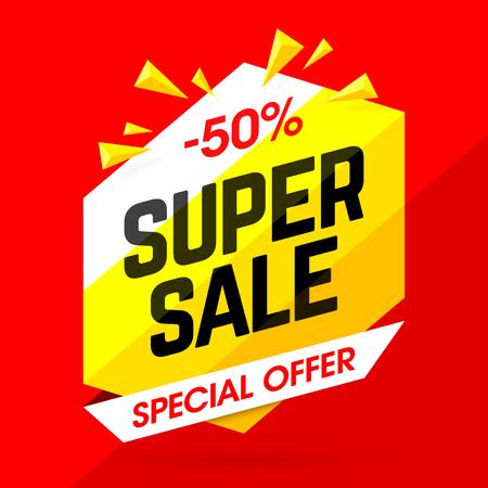 Super Sale special offer banner, 50% off discount Ilustração Vetorial