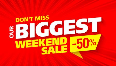 business sign: Biggest Weekend Sale banner Illustration