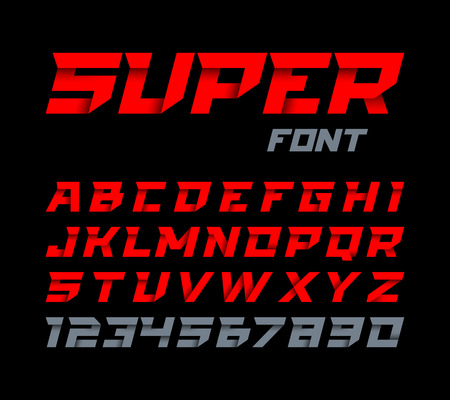 ribbon: Paper style Super font. Italic type, alphabet and numbers