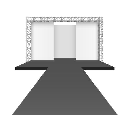 Runway podium stage, empty catwalk with black stage and background on truss system