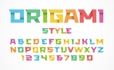 school: Origami style font. Color alphabet and numbers Illustration