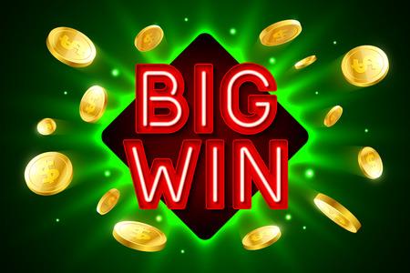 Big Win-banner voor het gokken van casino spellen, bingo of loterij