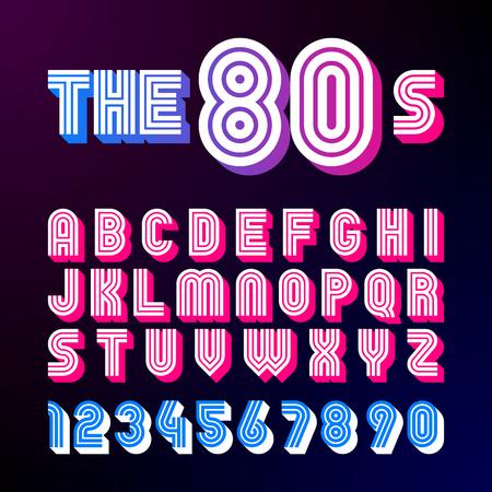 Carattere retrò stile anni '80. Il design dei font 80 con ombra, stile disco, alfabeto e numeri Archivio Fotografico - 77476507