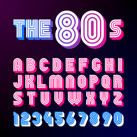 Eighties style retro font. 80s font design with shadow, disco style, alphabet and numbers