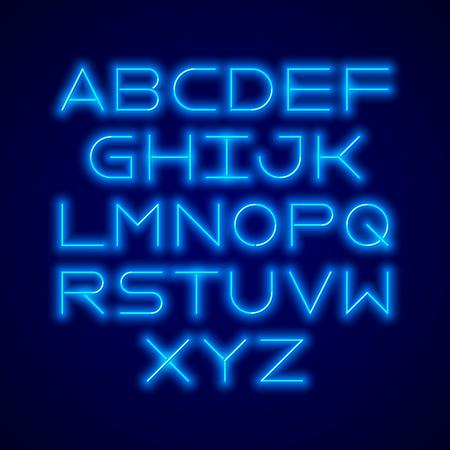 lamp light: Thin neon tube modern font, typeface, minimalist style. Latin alphabet letters