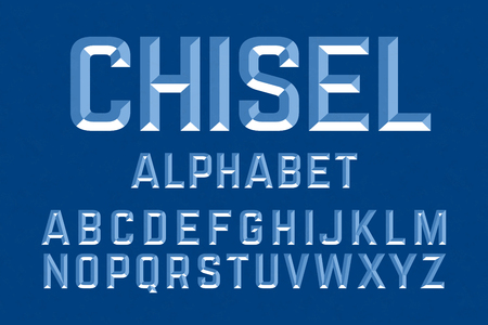 Chiseled alphabet letters set illustration. ready ti be placed on any background or color
