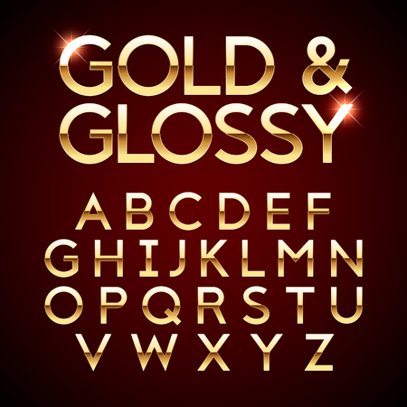 Gold and Glossy shining font, golden alphabet letters Vectores