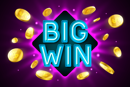 Big Win banner for gambling casino games, bingo or lottery Illustration