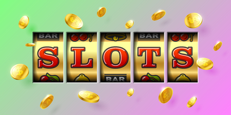 wheel of fortune: Slot machine gambling game casino banner with Slots inscription and flying winning coins around