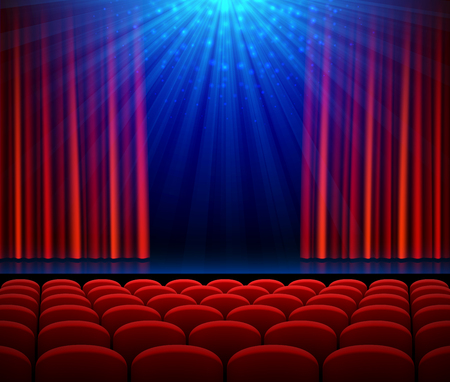 Empty theater stage with red opening curtain, spotlight and seats. Poster background for concert, party, theater or dance show