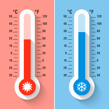 Celsius and Fahrenheit thermometers measuring heat and cold temperature, meteorology equipment
