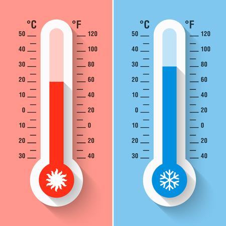 Thermomètres Celsius et Fahrenheit mesurant la chaleur et la température froide, l'équipement de météorologie