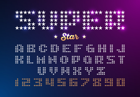gold: Retro disco style font made of stars. Super Star typeface. Alphabet and numbers