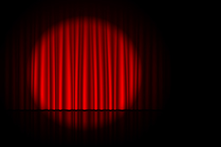 comedy: Stage with red curtain and spotlight on it. Theater, circus or cinema poster background with space for text Illustration
