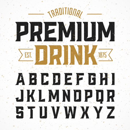 template: Vintage style font. Traditional premium drink simple label design alphabet. Ideal for any design in vintage style Illustration