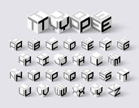 Cube shape 3d isometric font, three-dimentional alphabet letters Çizim