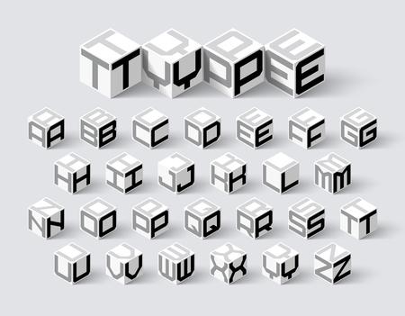 Cube shape 3d isometric font, three-dimentional alphabet letters Illustration