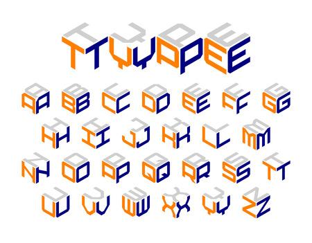 fashion: Isometric 3d type, three-dimensional alphabet