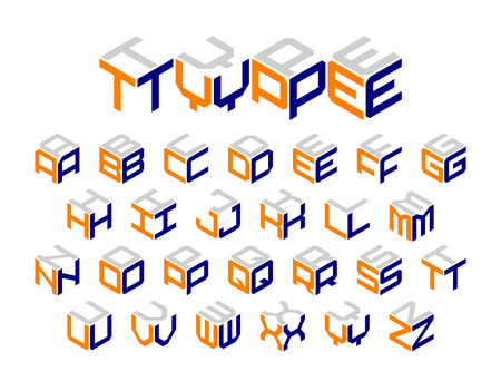 Isometric 3d type, three-dimensional alphabet