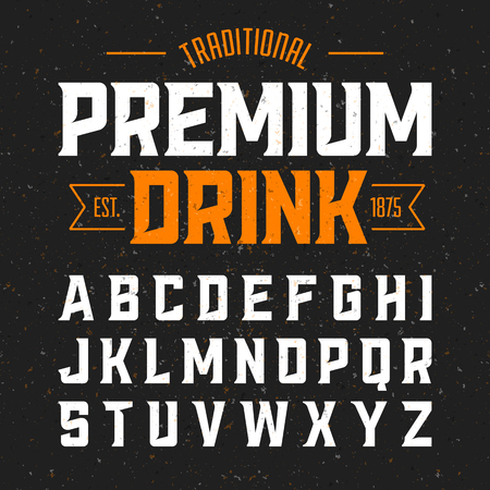 layout: Vintage style font. Traditional premium drink simple label design alphabet. Ideal for any design in vintage style Illustration