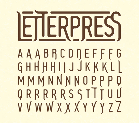technology: Letterpress printing style typeface with special characters Illustration
