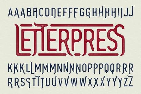 特殊文字を活版印刷のスタイル ビンテージ書体  イラスト・ベクター素材