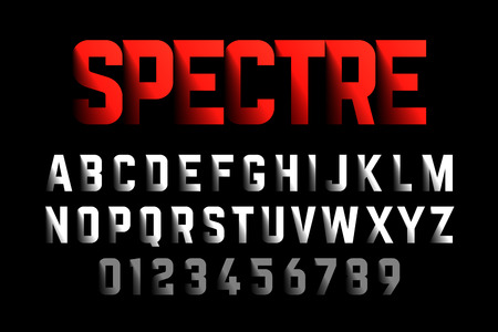 numbers: Bold style font with shadow effect, Spectre typeface, alphabet and numbers