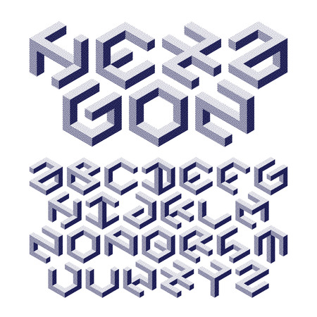 symbol: Hexagon alphabet made of impossible shapes with halftone texture