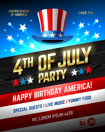 flag: Fourth of July USA Independence Day party poster template Illustration