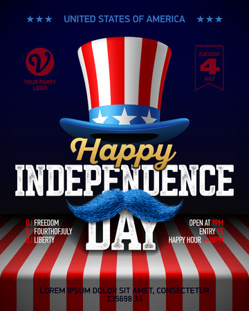Happy Independence Day party poster template. Fourth of July USA Independence Day celebration Ilustração